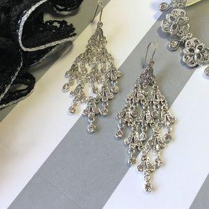 Silvery Chandelier Earrings